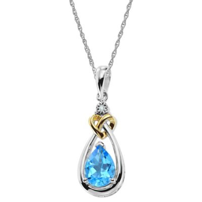 Sterling Silver Diamond and Blue Topaz 18-Inch Chain Pear Drop Pendant Necklace