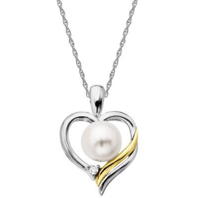 Sterling Silver 14K Yellow Gold .01 cttw Diamond Freshwater Cultured Pearl Heart Pendant Necklace