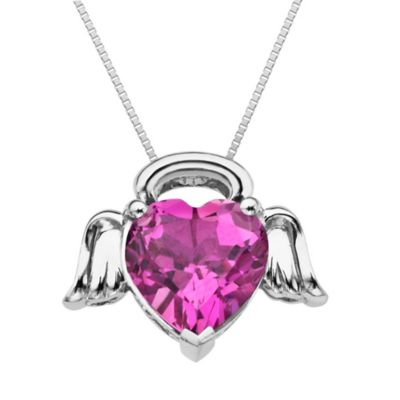 Sterling Silver and Pink Sapphire Heart Necklace