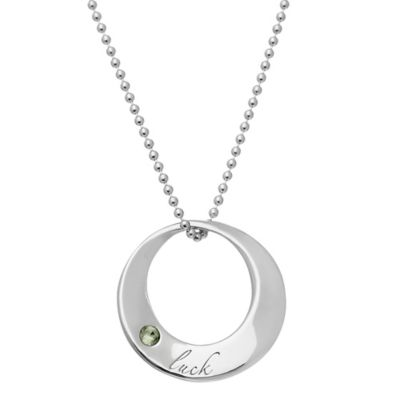emma&me® forever™ Sterling Silver Peridot 18-Inch Chain Circle of Life Luck Pendant Necklace
