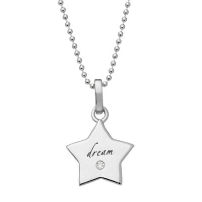 """emma&me® forever™ Sterling Silver .01 cttw Diamond """"Dream"""" Star Pendant Necklace"""