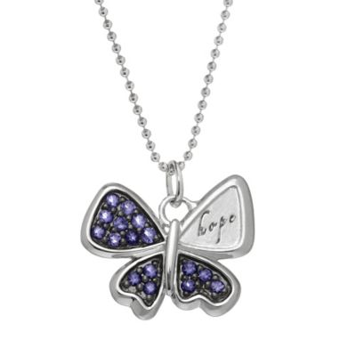 "emma&me® forever™ Sterling Silver Iolite 18-Inch Chain ""Hope"" Butterfly Pendant Necklace"