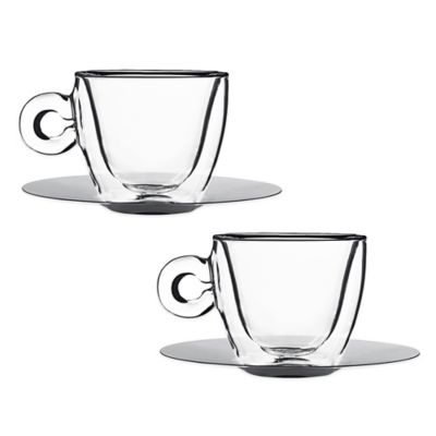 Luigi Bormioli Thermic Double-Wall Cappuccino Cups and Saucers (Set of 2)