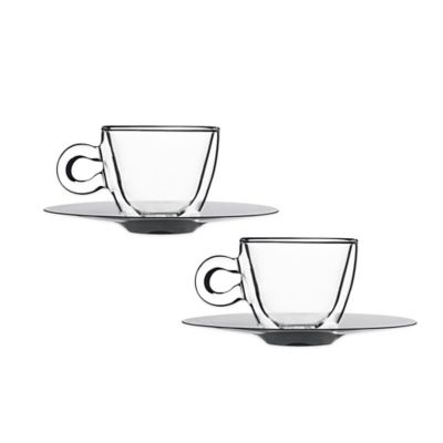 Luigi Bormioli Thermic Double-Wall Espresso Cups and Saucers (Set of 2)