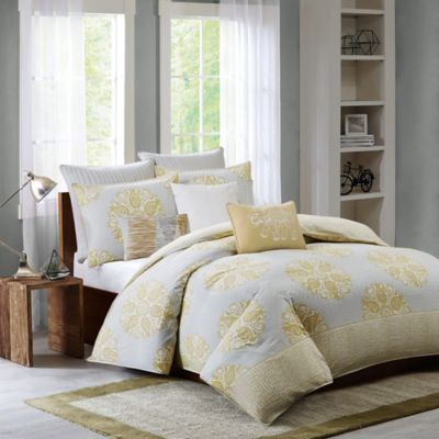Ink + Ivy Melbourne King Duvet Cover Set in Yellow