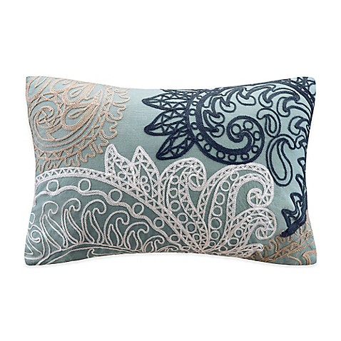Buy INK+IVY Kiran Embroidered Oblong Throw Pillow in Blue from Bed Bath & Beyond