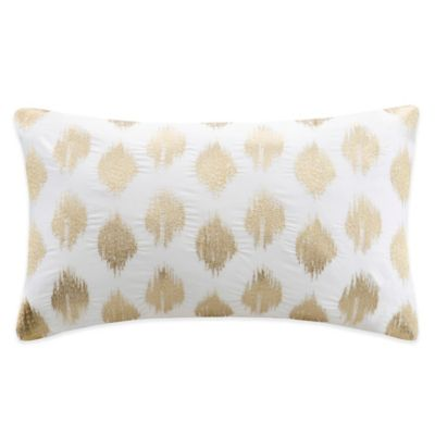 Ink + Ivy Nadia Dot Embroidered Oblong Throw Pillow in Gold
