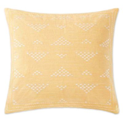 INK+IVY Cairo Embroidered Square Throw Pillow in Yellow