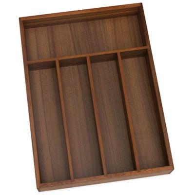 Lipper Small Acacia Wood 5-Compartment Flatware Organizer Tray