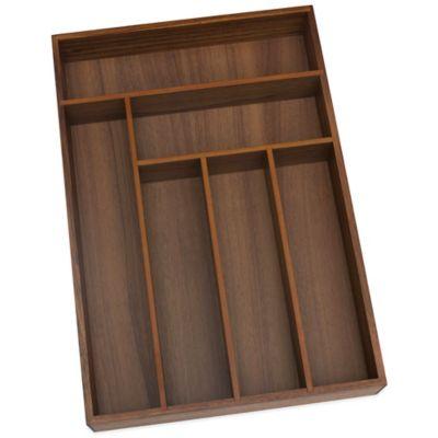 Lipper Large Acacia Wood 6-Compartment Flatware Organizer Tray