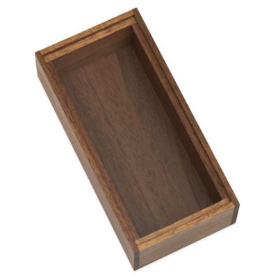 Lipper Acacia Wood Stackable 3-Inch x 6-Inch Organizer Box