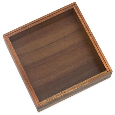 Lipper Acacia Wood Stackable 6-Inch x 6-Inch Organizer Box