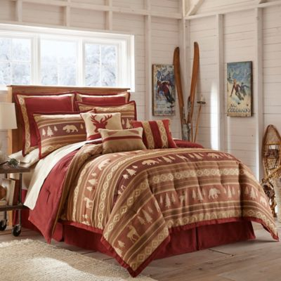 Crescent Lodge Queen Comforter Set in Burgundy
