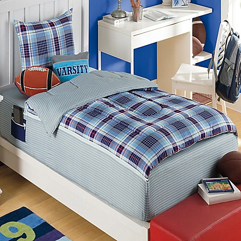Zipit bedding pep rally reversible comforter set in blue - Blue and orange bedding sets ...