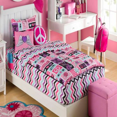 ZipIt Bedding® Rock Princess Twin Reversible Comforter Set in Pink
