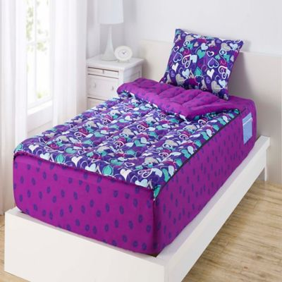 ZipIt Bedding® Hearts and Lips Reversible Twin Comforter Set in Purple