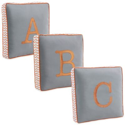 "Letter ""A"" Square Throw Pillow in Grey"
