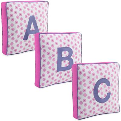 "Letter ""R"" Square Throw Pillow in Pink"
