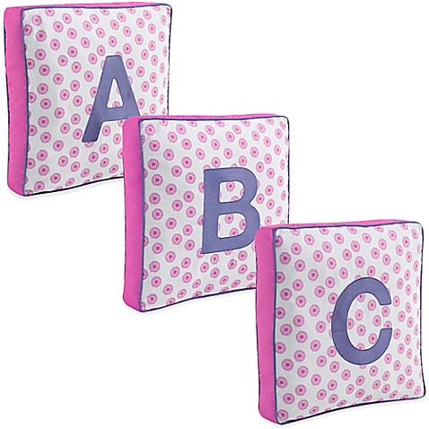 Throw Pillows With Letters On Them : Letter Square Throw Pillow in Pink - Bed Bath & Beyond
