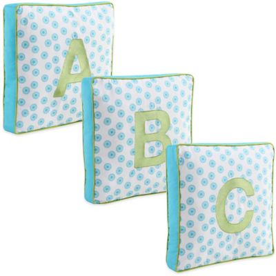 "Letter ""A"" Square Throw Pillow in Turquoise"