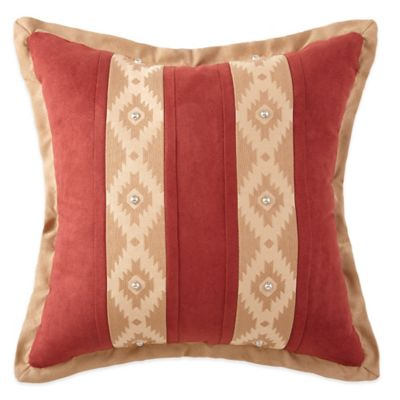 Crescent Lodge Striped Square Throw Pillow in Burgundy