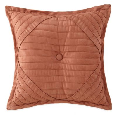 Desert Ridge Pleated Square Throw Pillow in Terracotta