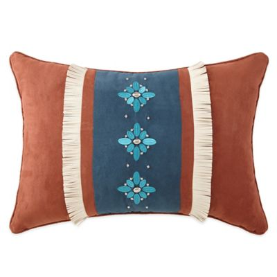 Rio Grande Suede Stripe and Fringe Oblong Throw Pillow