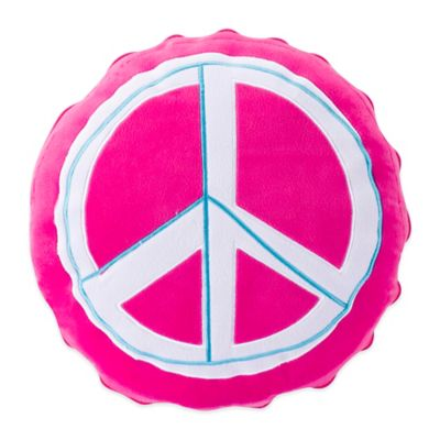 ZipIt Bedding® Rocker Peace Round Throw Pillow in Pink