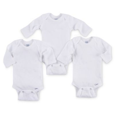 Gerber ONESIES® Brand Newborn 3-Pack Long-Sleeve Bodysuits in White