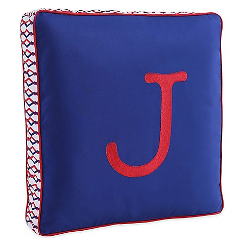 Letter Square Throw Pillow in Blue - buybuy BABY