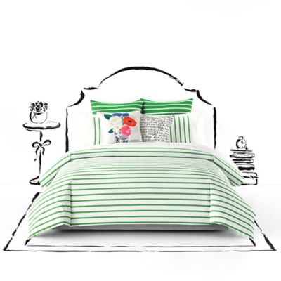 kate spade new york Harbour Stripe King Duvet Cover Set in Green