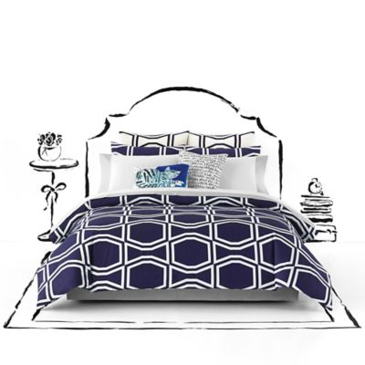 kate spade new york Bow Tile Full/Queen Comforter Set in Navy