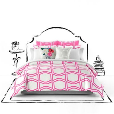 kate spade new york Bow Tile Full/Queen Duvet Cover Set in Pink