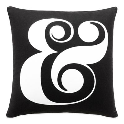 kate spade new york Ampersand Square Throw Pillow in Black