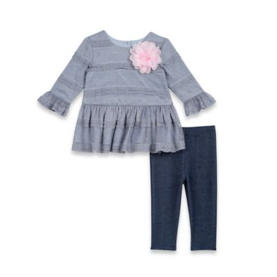 Pippa & Julie™ Size 3M 2-Piece Lace with Floral Applique Top and Legging Set in Blue