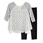 Marmellata Size 9M 2-Piece Stars and Stripes Tunic and Legging Set in White/Black