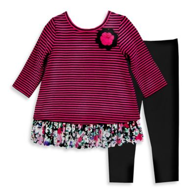 Pippa & Julie™ Size 3M 2-Piece Striped Floral Hem Top and Legging Set in Fuchsia/Black