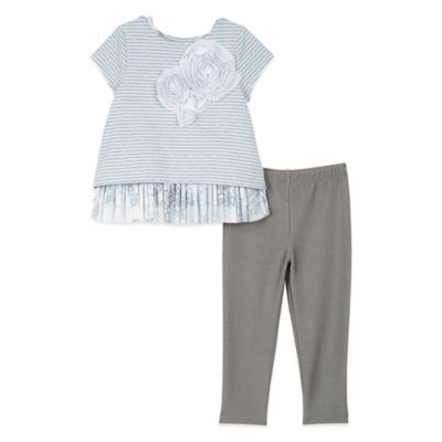 Pippa & Julie™ Size 3M 3-Piece Heather Knit Top, Tunic, and Legging Set in Blue/Grey