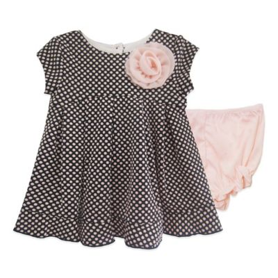 Pippa & Julie™ Size 6M Ruffle Hem Dotted Knit Dress in Pink/Black