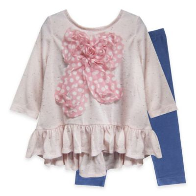 Pippa & Julie™ Size 3M 2-Piece Bow Top and Legging Set in Pink/Grey