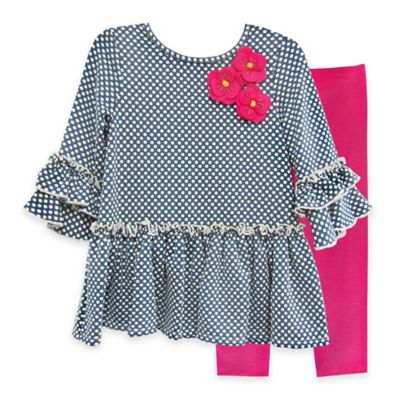 Pippa & Julie™ Size 3M 2-Piece Polka Dot Drop-Waist Top and Legging Set in Blue/Fuchsia