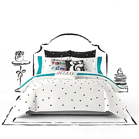 Buy kate spade new york deco dot king duvet cover set in for Bed bath and beyond kate spade