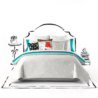 kate spade new york Deco Dot Full/Queen Duvet Cover Set in White