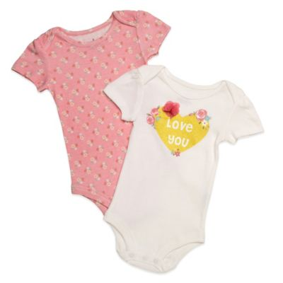 "Baby Starters® Size 9M ""Love You"" 2-Pack Short Sleeve Bodysuits in Peach/White"