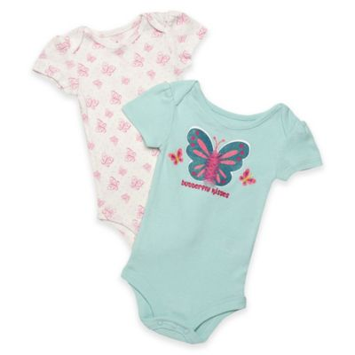 "Baby Starters® Size 9M ""Butterfly Kisses"" 2-Pack Short Sleeve Bodysuits in Ivory/Turquoise"