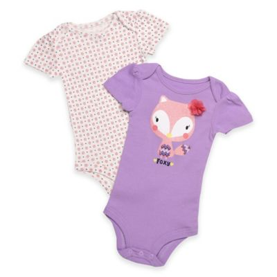 "Baby Starters® Size 9M ""Foxy"" 2-Pack Bodysuits in Purple/White"