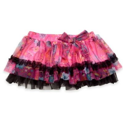 Baby Starters® Size 9M Floral Print Tutu Skirt in Pink/Black