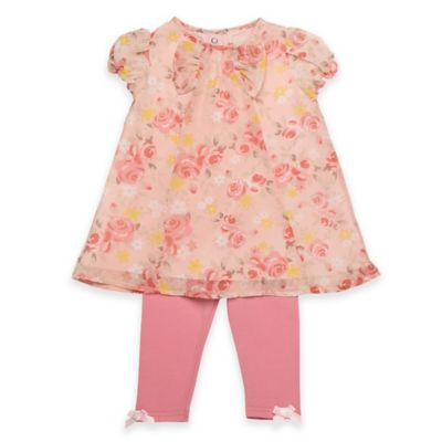 Baby Starters® Size 9M 2-Piece Legging Set in Rose Print/Coral