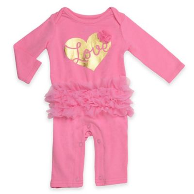 Baby Starters® Newborn Gold Heart Long Sleeve Footless Coverall with Tutu in Pink