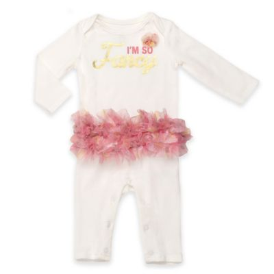 "Baby Starters® Size 9M ""I'm So Fancy"" Long Sleeve Footless Coverall with Tutu in Ivory/Pink"